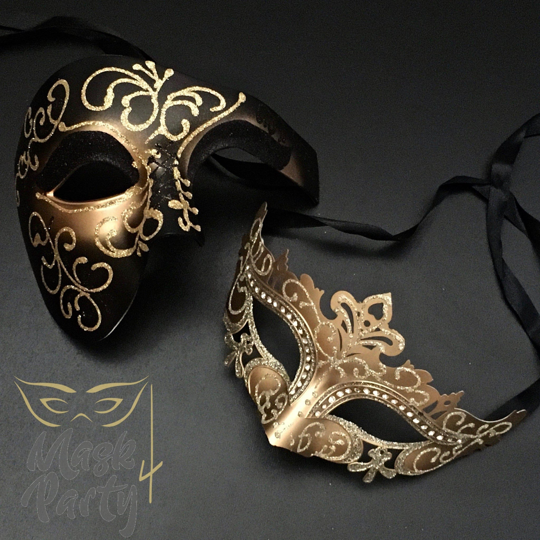 Masquerade Masks - Half-Face Phantom & Venetian Eye - Black & Gold - Mask4Party