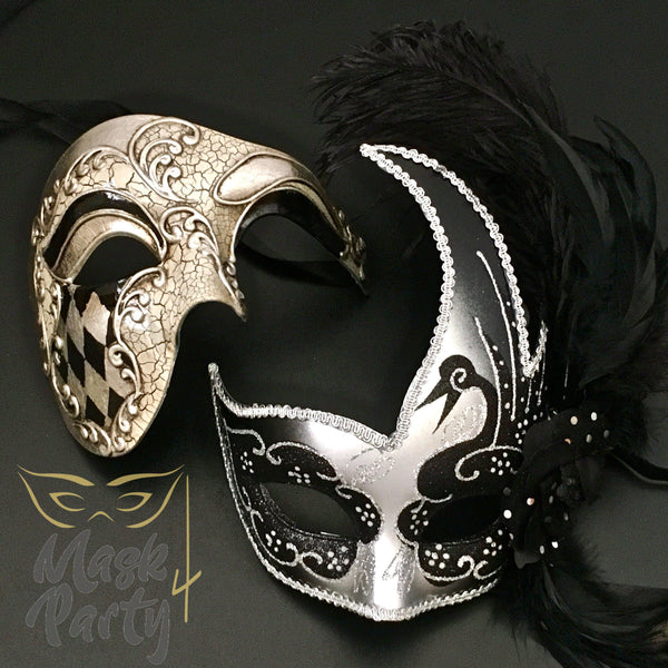 Masquerade Masks - Half-Face Phantom & Venetian Feather - Black/Silver - Mask4Party