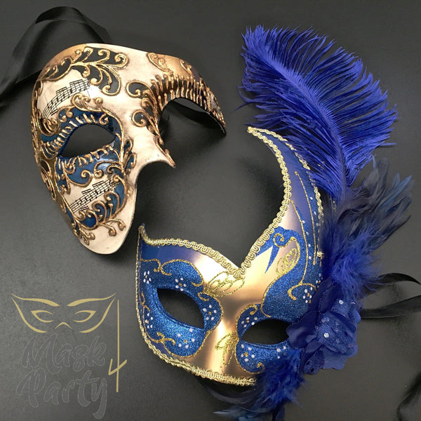 Masquerade Masks - Half-Face Phantom & Venetian Feather - Gold/Blue - Mask4Party