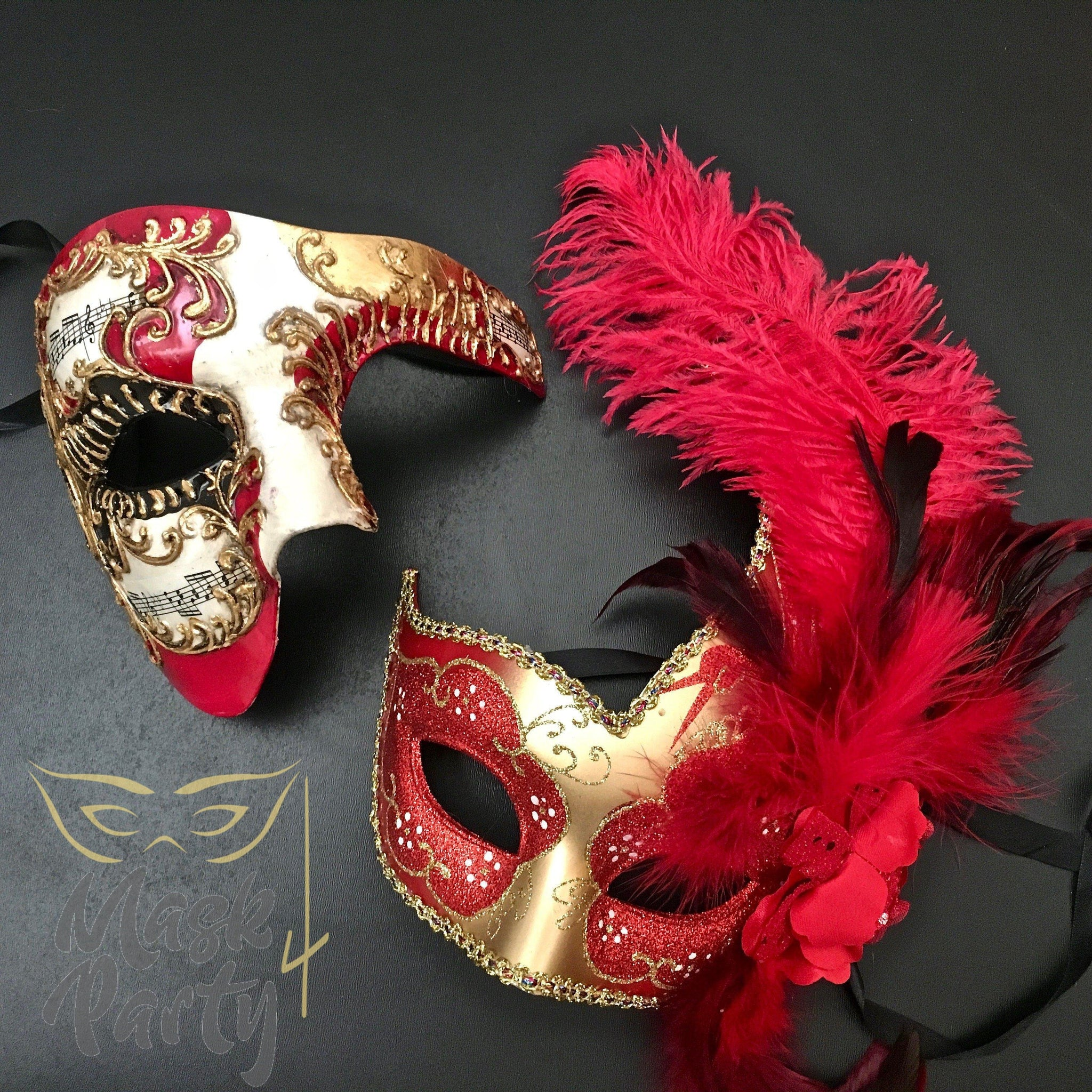 6b0ffae18f21 Masquerade Masks - Half-Face Phantom & Venetian Feather - Red/Gold -  Mask4Party