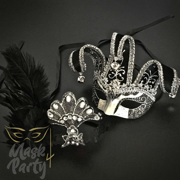 Masquerade Masks - Jolly Jester & Venetian Feather - Black/Silver - Mask4Party