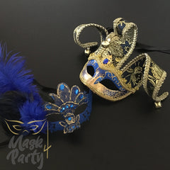 Masquerade Masks - Jolly Jester & Venetian Feather - Blue/Gold - Mask4Party