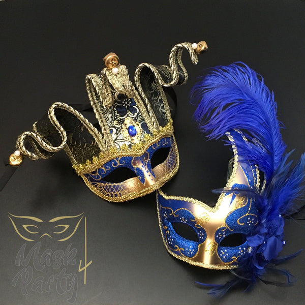 Masquerade Masks - Jolly Jester & Venetian Feather - Gold/Blue - Mask4Party