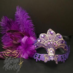 Masquerade Masks - Jolly Jester & Venetian Feather - Purple/Gold - Mask4Party