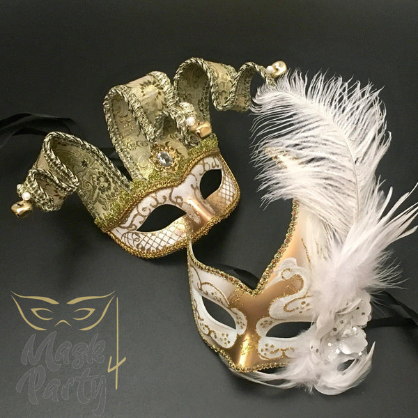 Masquerade Masks - Jolly Jester & Venetian Feather - White/Gold - Mask4Party
