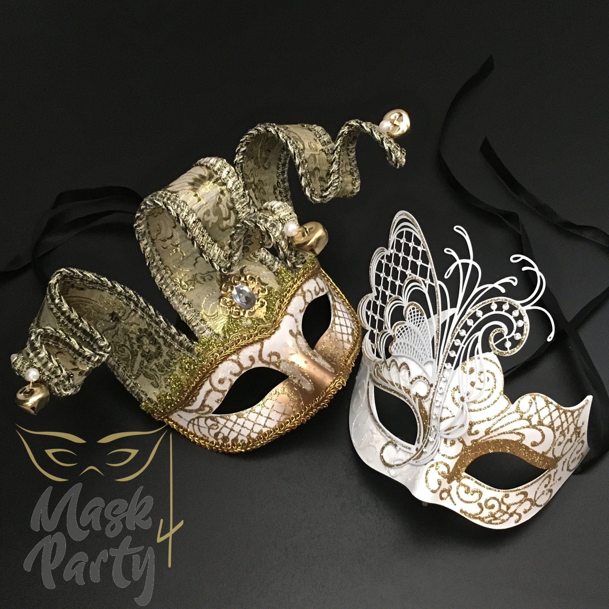 Masquerade Masks - Jolly Jester & Venetian Metal - White/Gold - Mask4Party