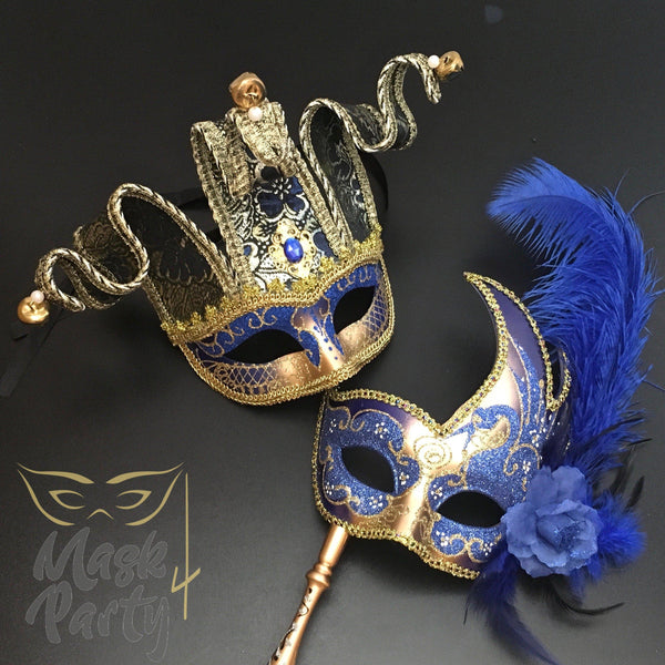 Masquerade Masks - Jolly & Venetian Jester Stick - Blue/Gold - Mask4Party