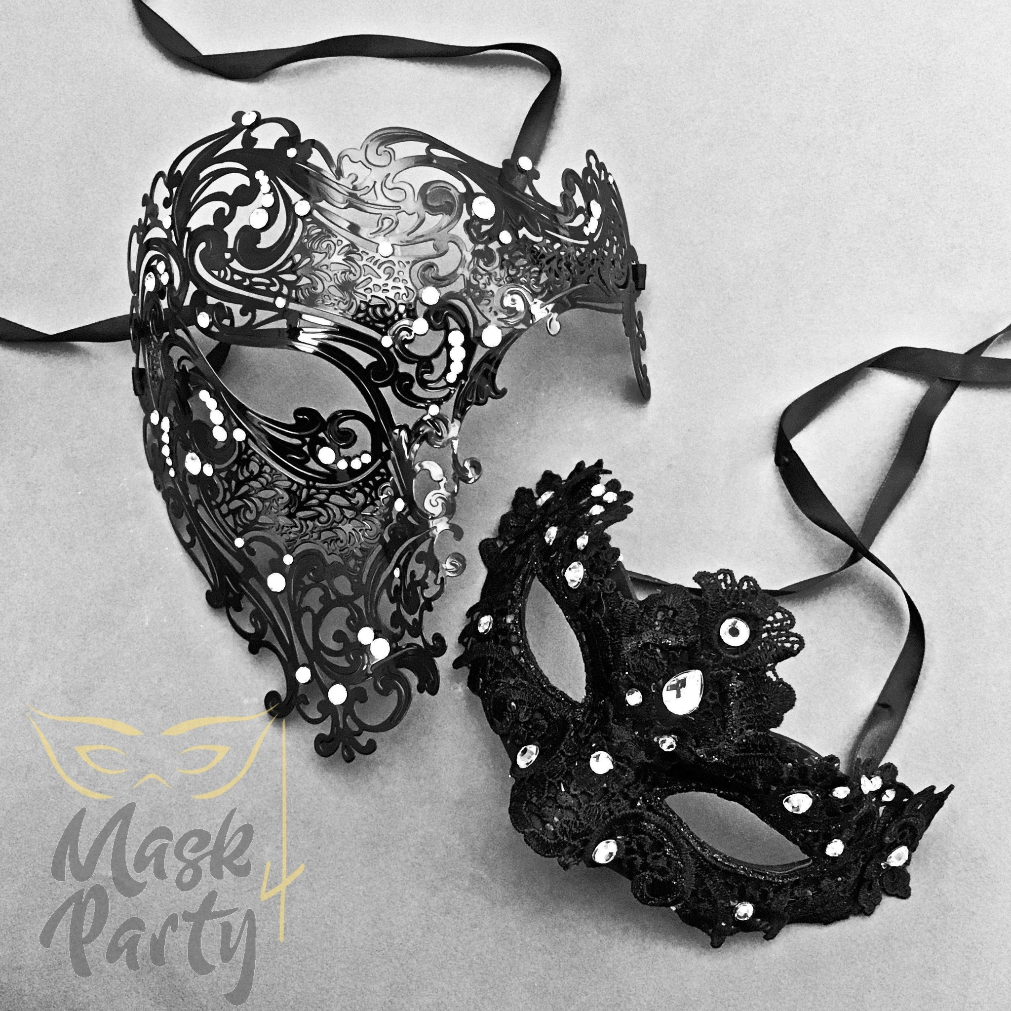 Masquerade Masks - Metal Skull & Brocade Lace - Black - Mask4Party