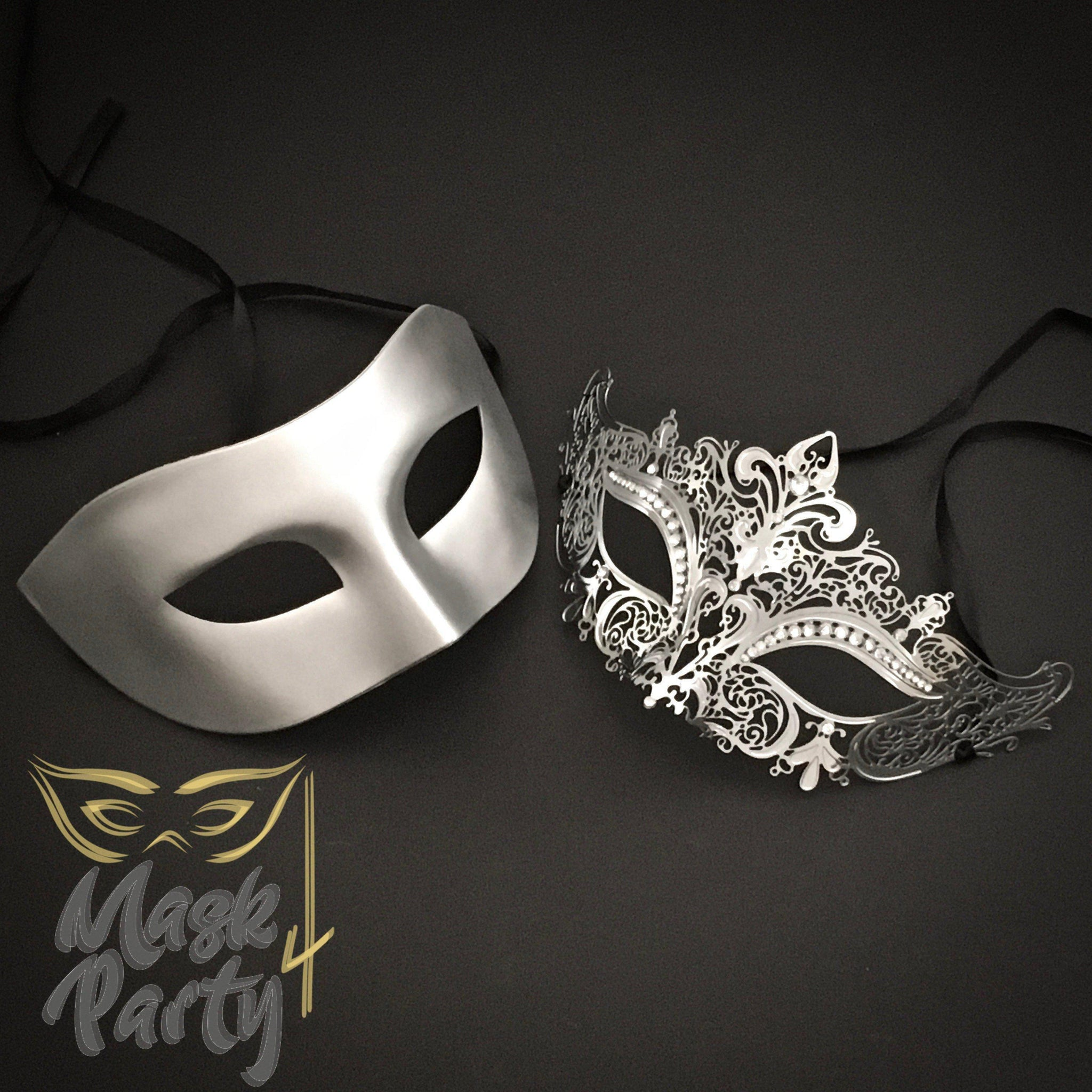 Masquerade Masks - Metallic Eye & Filigree Metal - Silver - Mask4Party