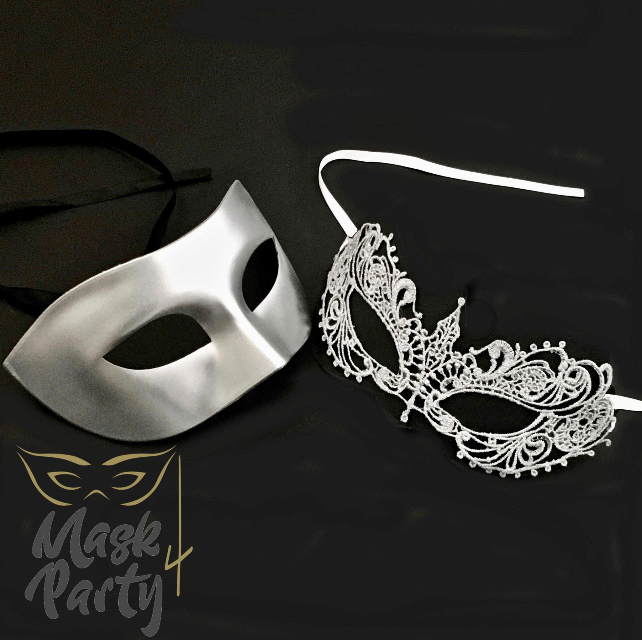 Masquerade Masks - Metallic Eye & Lace - Silver - Mask4Party