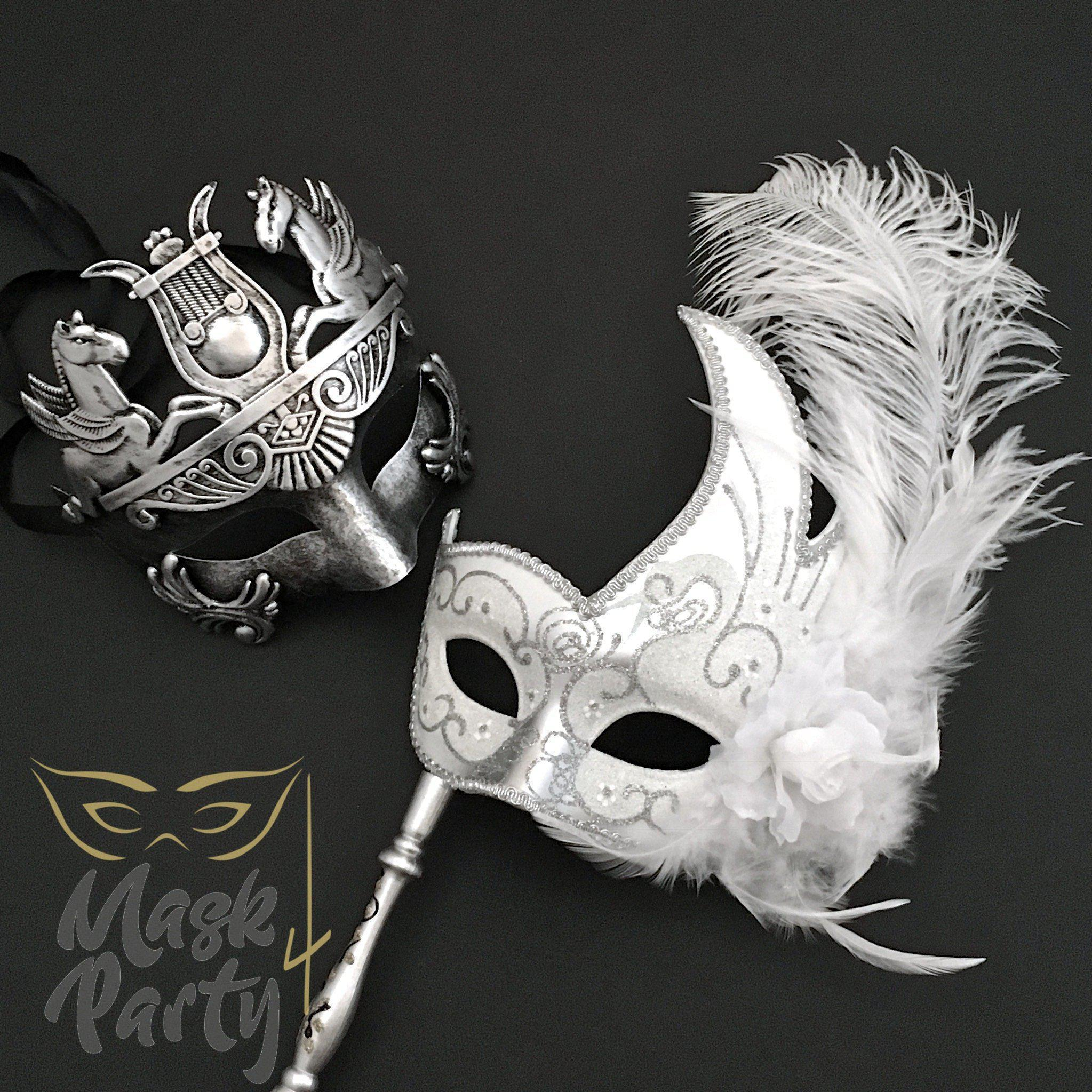 Masquerade Masks - Roman & Venetian Stick - Silver/White - Mask4Party