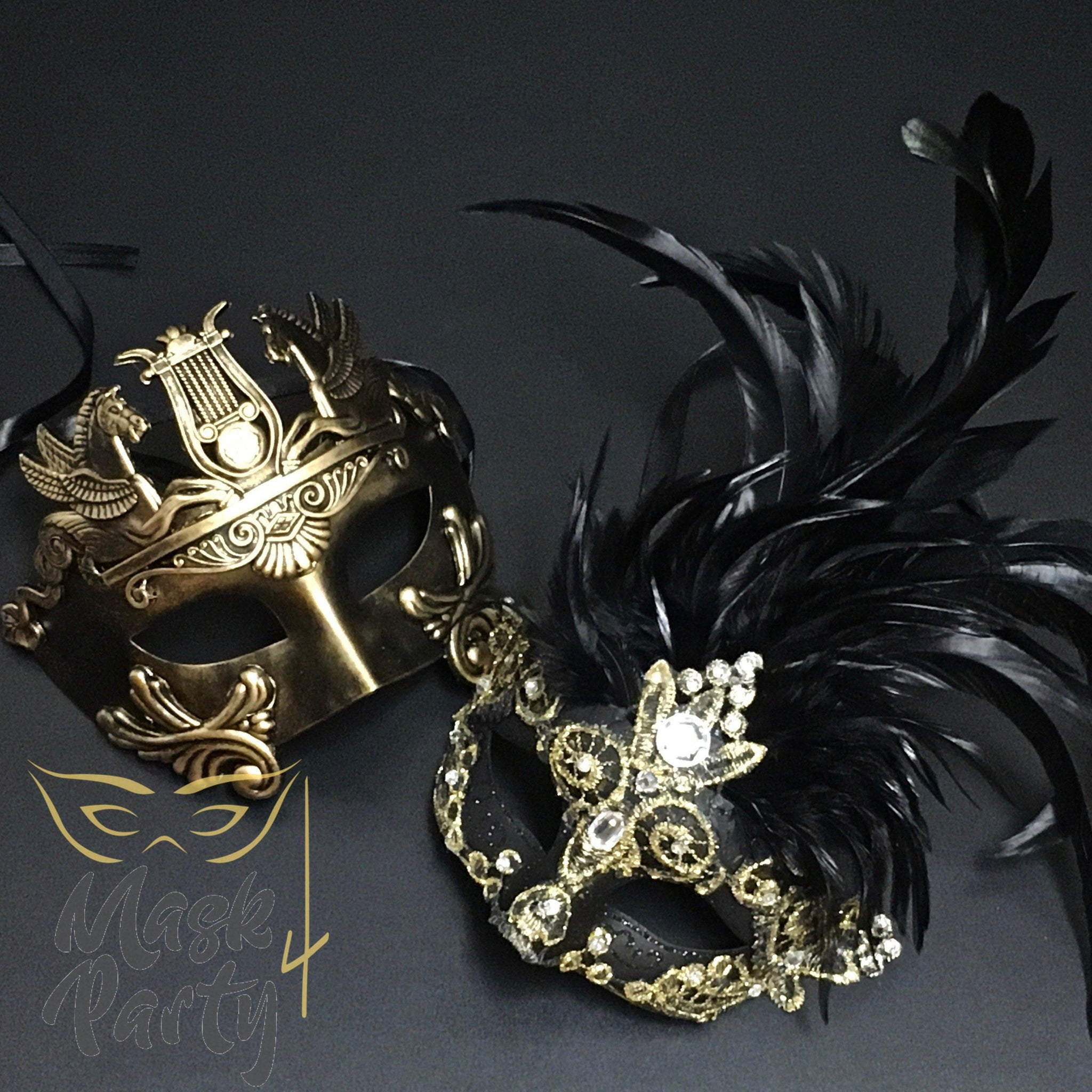Masquerade Masks - Rome & Brocade Lace Feather - Black/Gold - Mask4Party