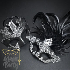 Masquerade Masks - Rome & Brocade Lace Feather - Black/Silver - Mask4Party