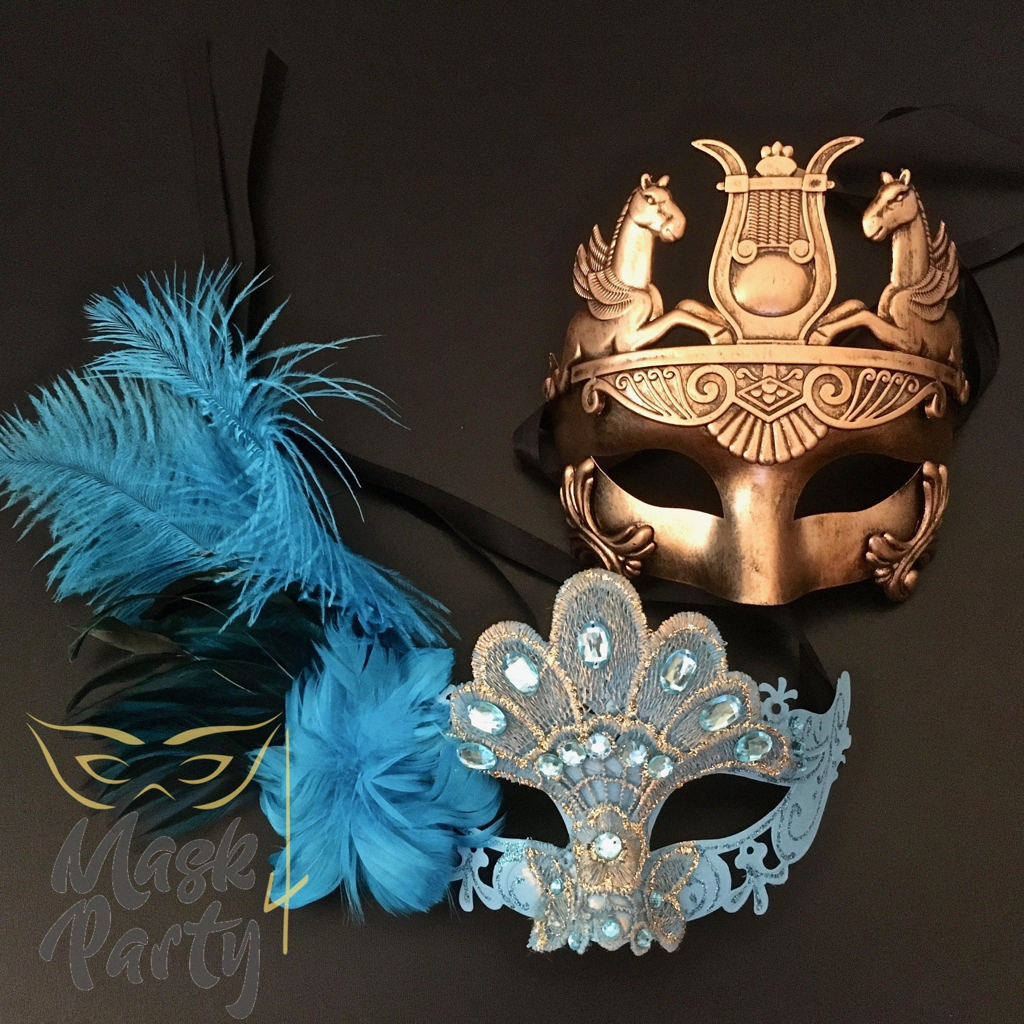 Masquerade Masks - Rome & Brocade Lace Feather - Turquoise Blue/Gold - Mask4Party