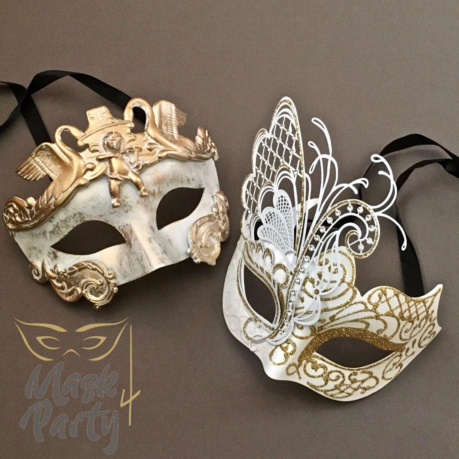 Masquerade Masks - Rome Warrior & Butterfly - White/Gold - Mask4Party