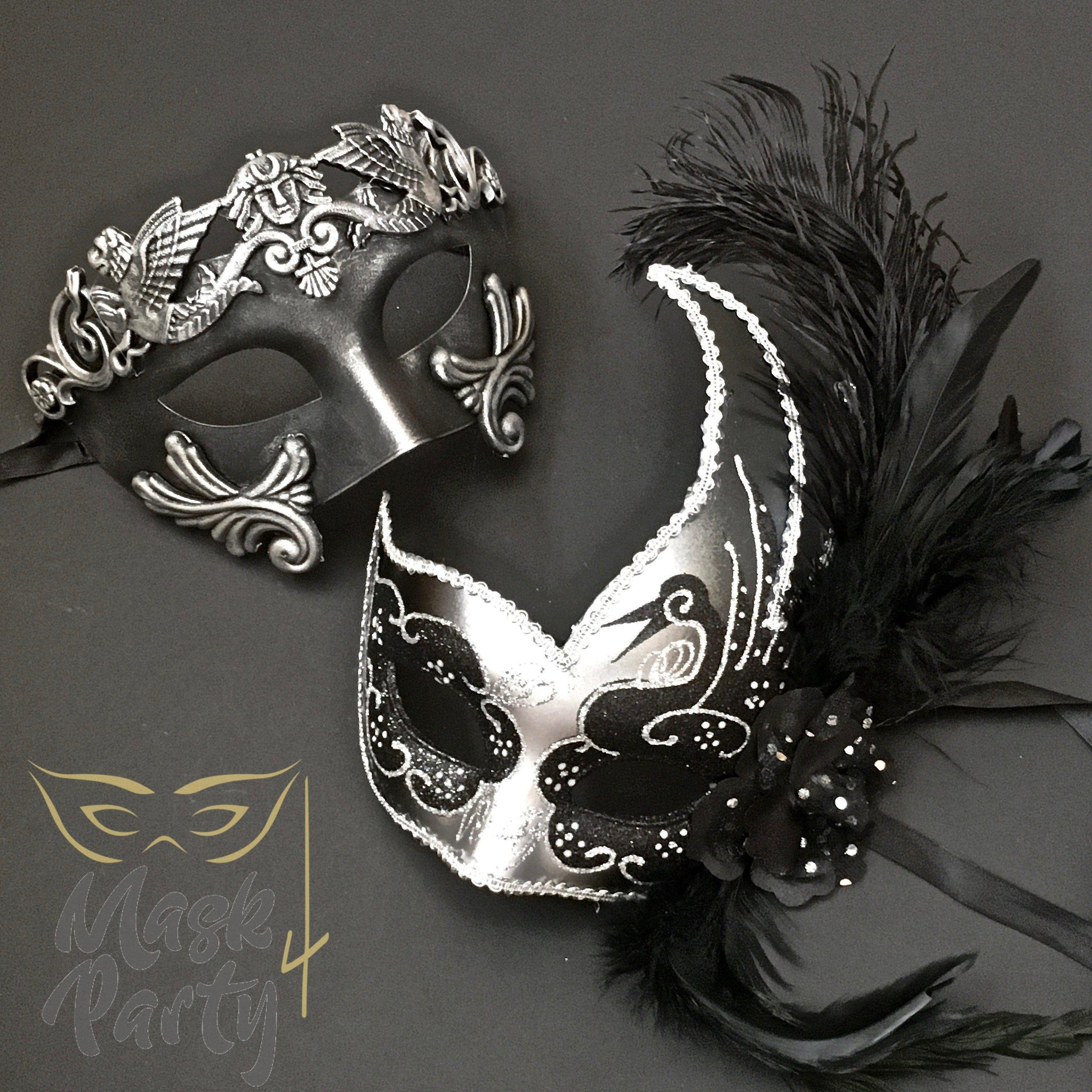 Masquerade Masks - Rome Warrior & Venetian Feather - Black/Silver - Mask4Party
