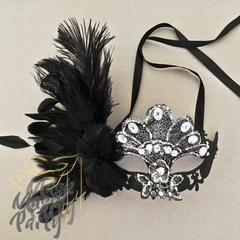Masquerade Masks - Steampunk Phantom & Brocade Feather - Black/Silver - Mask4Party