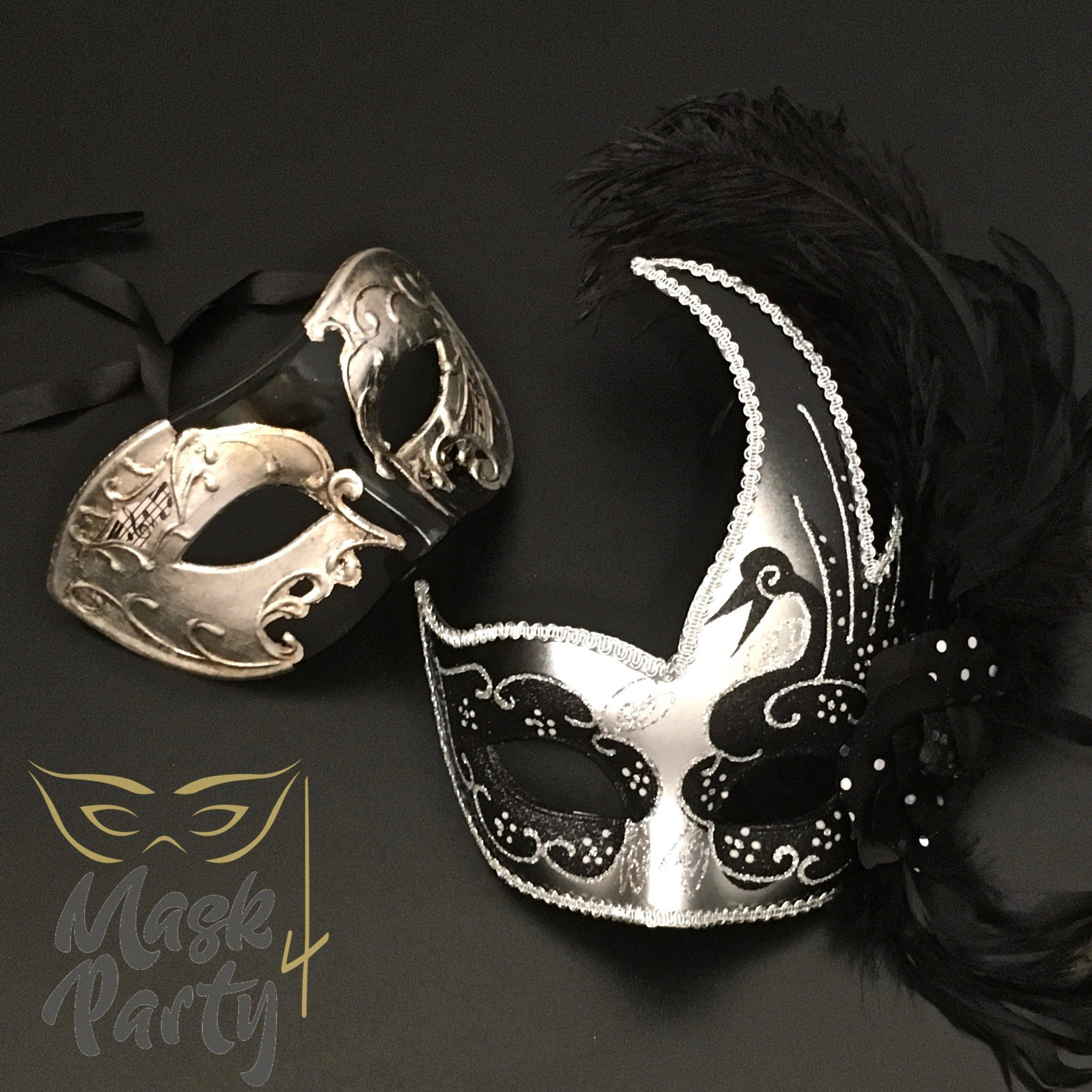 Masquerade Masks - Venetian Ball & Venetian Feather - Silver/Black - Mask4Party