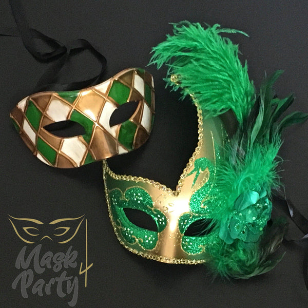 Masquerade Masks - Venetian Eye & Feather - Green/Gold - Mask4Party