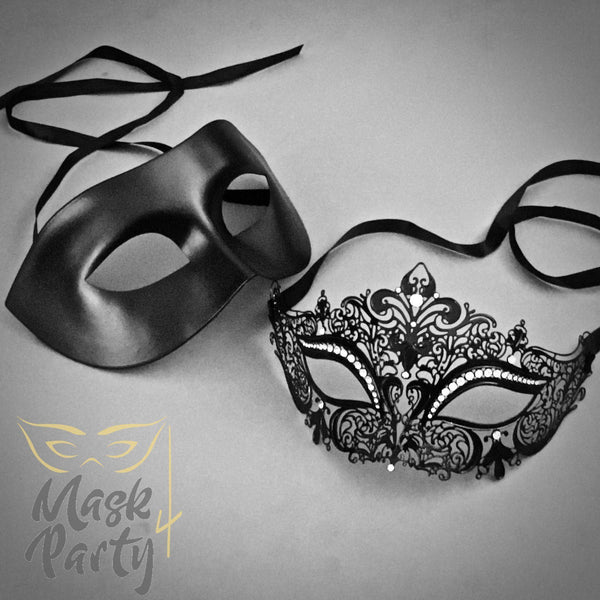 Masquerade Masks - Venetian Eye & Filigree Metal - Black - Mask4Party