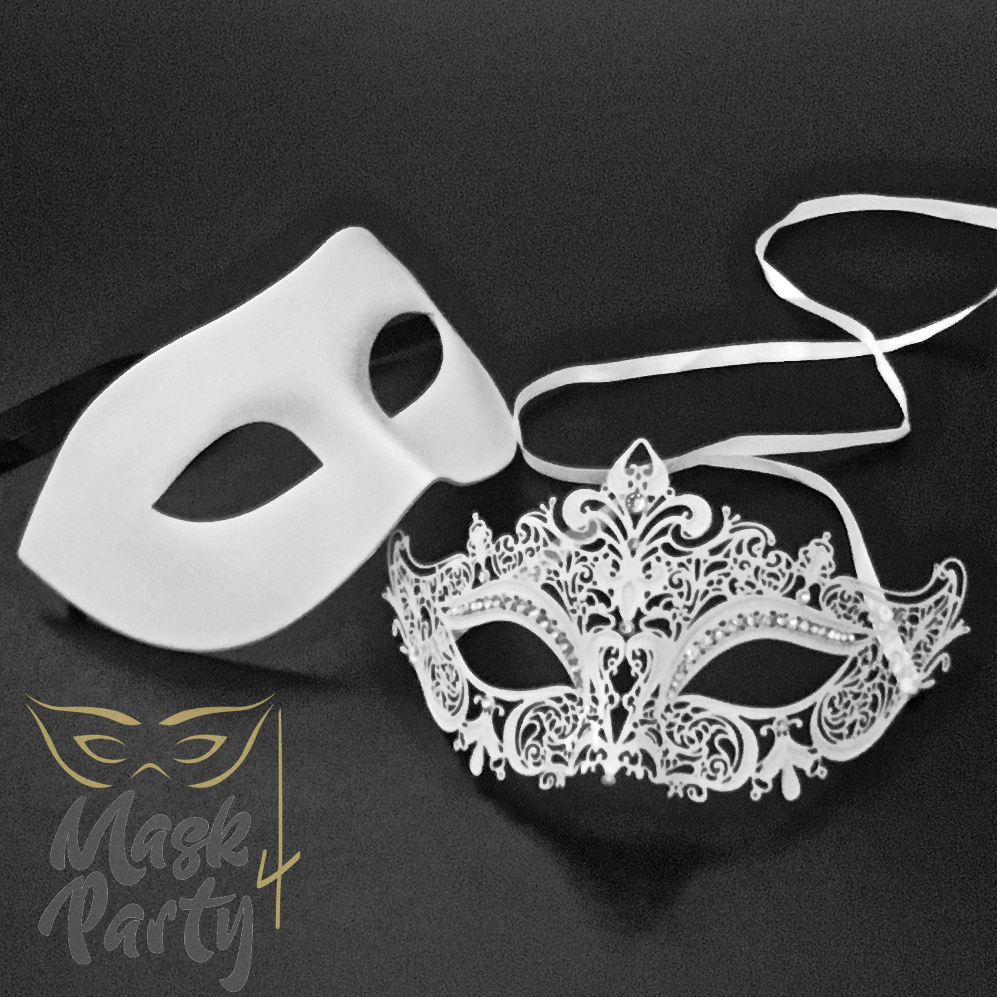 Masquerade Masks - Venetian Eye & Filigree Metal - White - Mask4Party