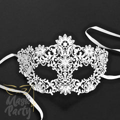 Masquerade Masks - Venetian Filigree Metal - White - Mask4Party
