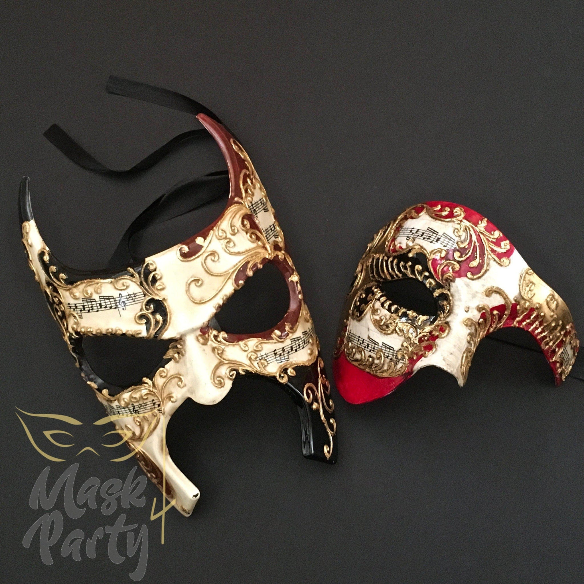 Masquerade Masks - Venetian Full Face & Half-Face Phantom - Ivory/Red - Mask4Party