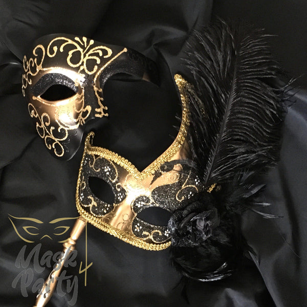Masquerade Masks - Venetian Phantom & Feather Stick - Black/Gold - Mask4Party