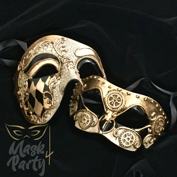 Masquerade Masks - Venetian Phantom & Steampunk Eye - Black/Gold - Mask4Party