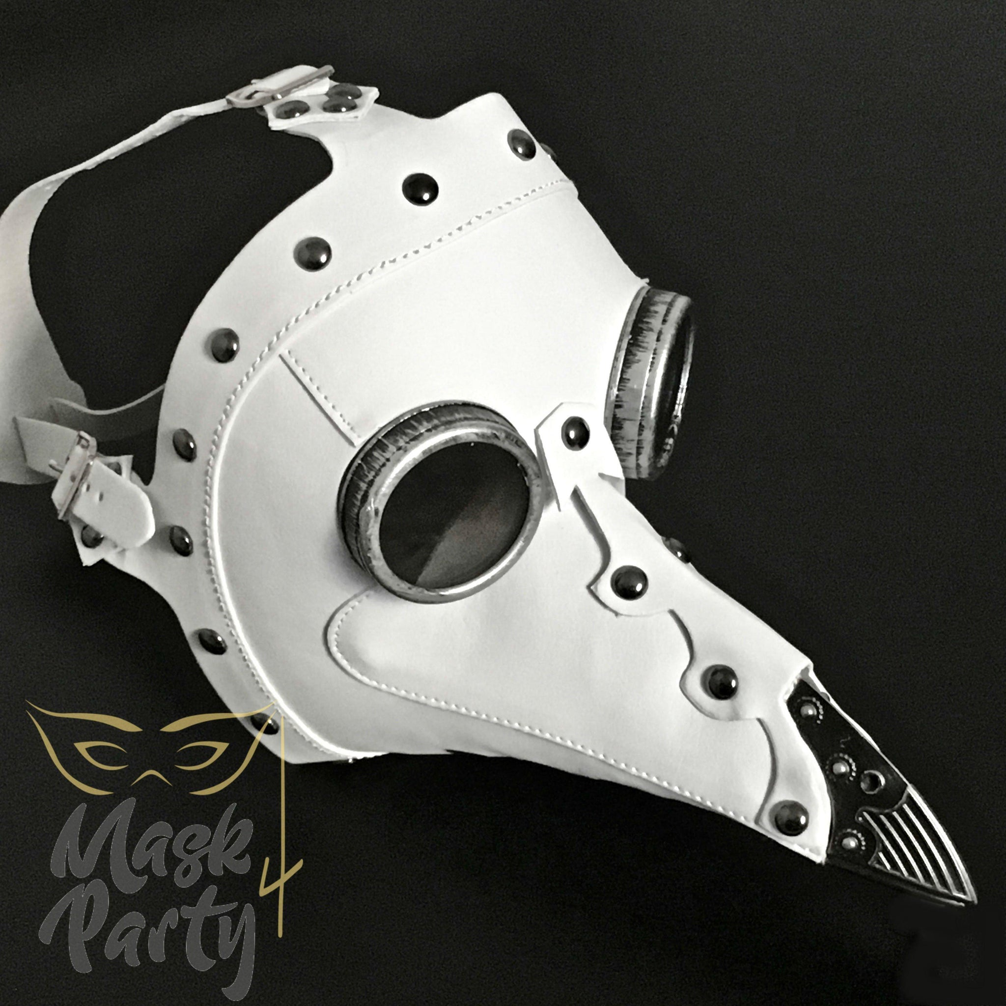 NEW - DAY OF THE DEAD MASK - DEATH PLAGUE DOCTOR - WHITE - Mask4Party