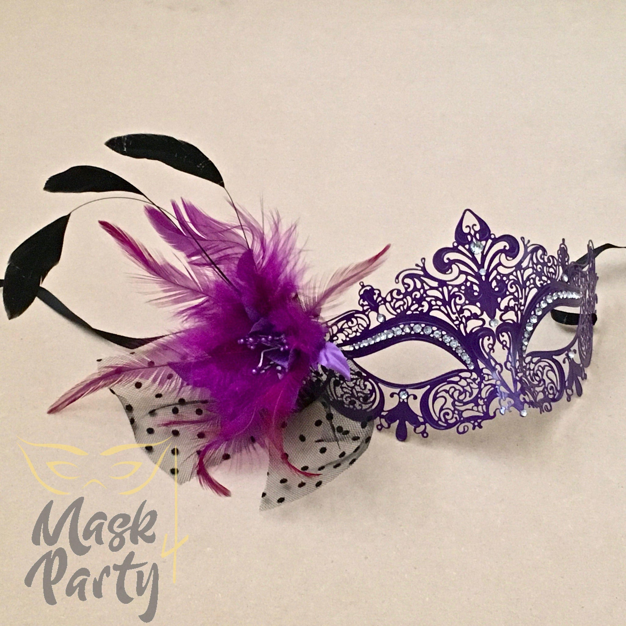 NEW - MASQUERADE MASK - FILIGREE METAL & FEATHER - PURPLE - Mask4Party