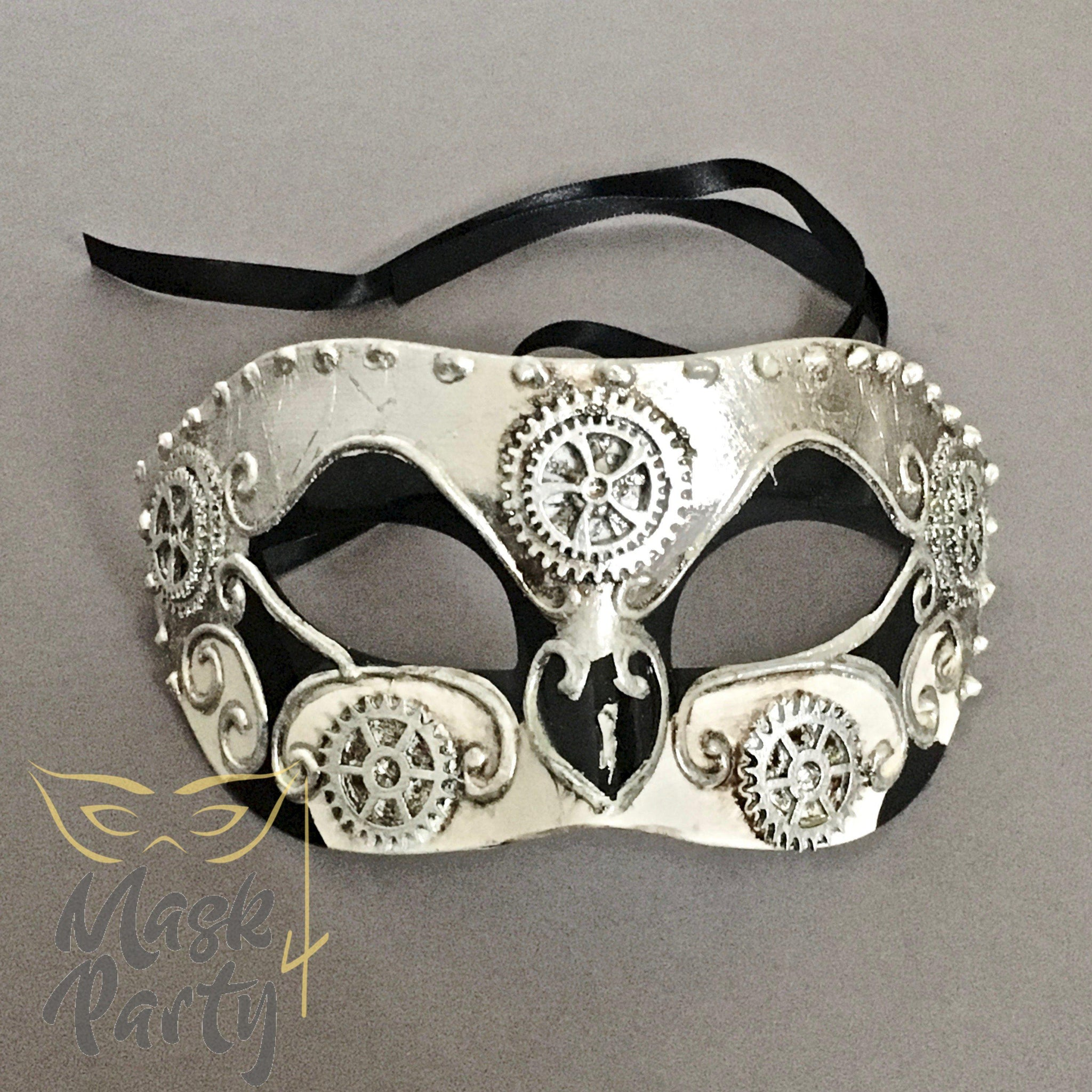 NEW - MASQUERADE MASK - STEAMPUNK VENETIAN EYE - IVORY/SILVER - Mask4Party