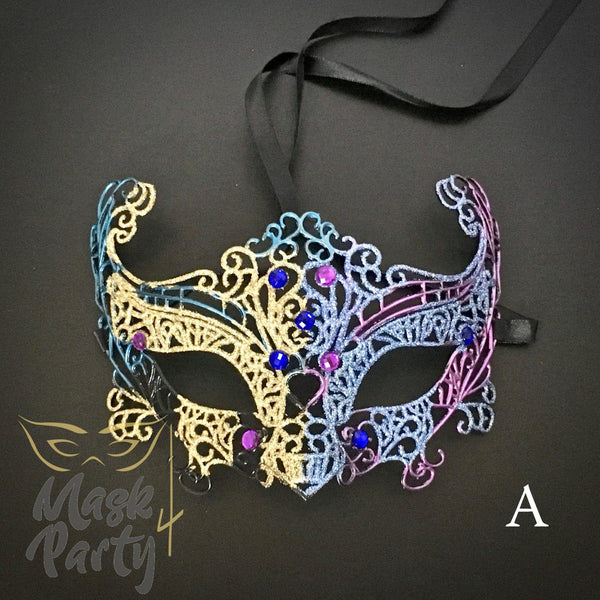 NEW - MASQUERADE MASK - VENETIAN EYE GLITTER - Multi Color - Mask4Party