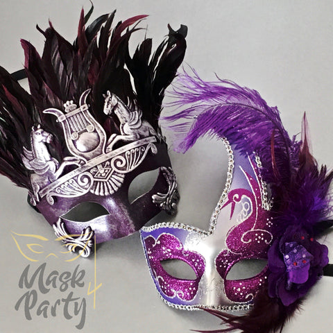 NEW - Masquerade Masks - Rome Warrior & Venetian Feather - Purple/Silver - Mask4Party