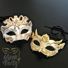 NEW - Masquerade Masks - Rome Warrior & Venetian Wings Eye - Ivory/Gold - Mask4Party