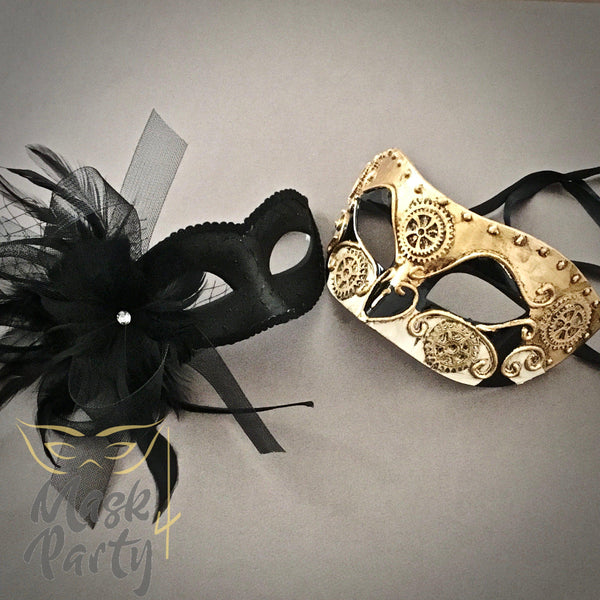 NEW - Masquerade Masks - Steampunk Eye & Venetian Floral - Black/Gold - Mask4Party