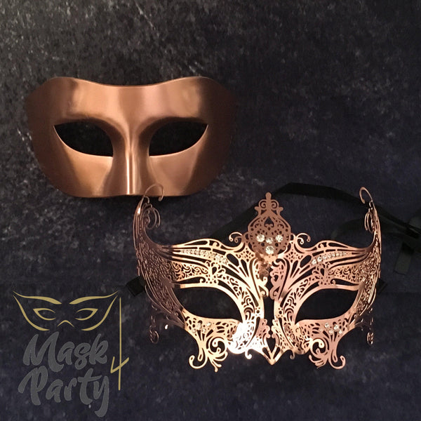 NEW - Masquerade Masks - Venetian Eye & Filigree Metal - Copper - Mask4Party