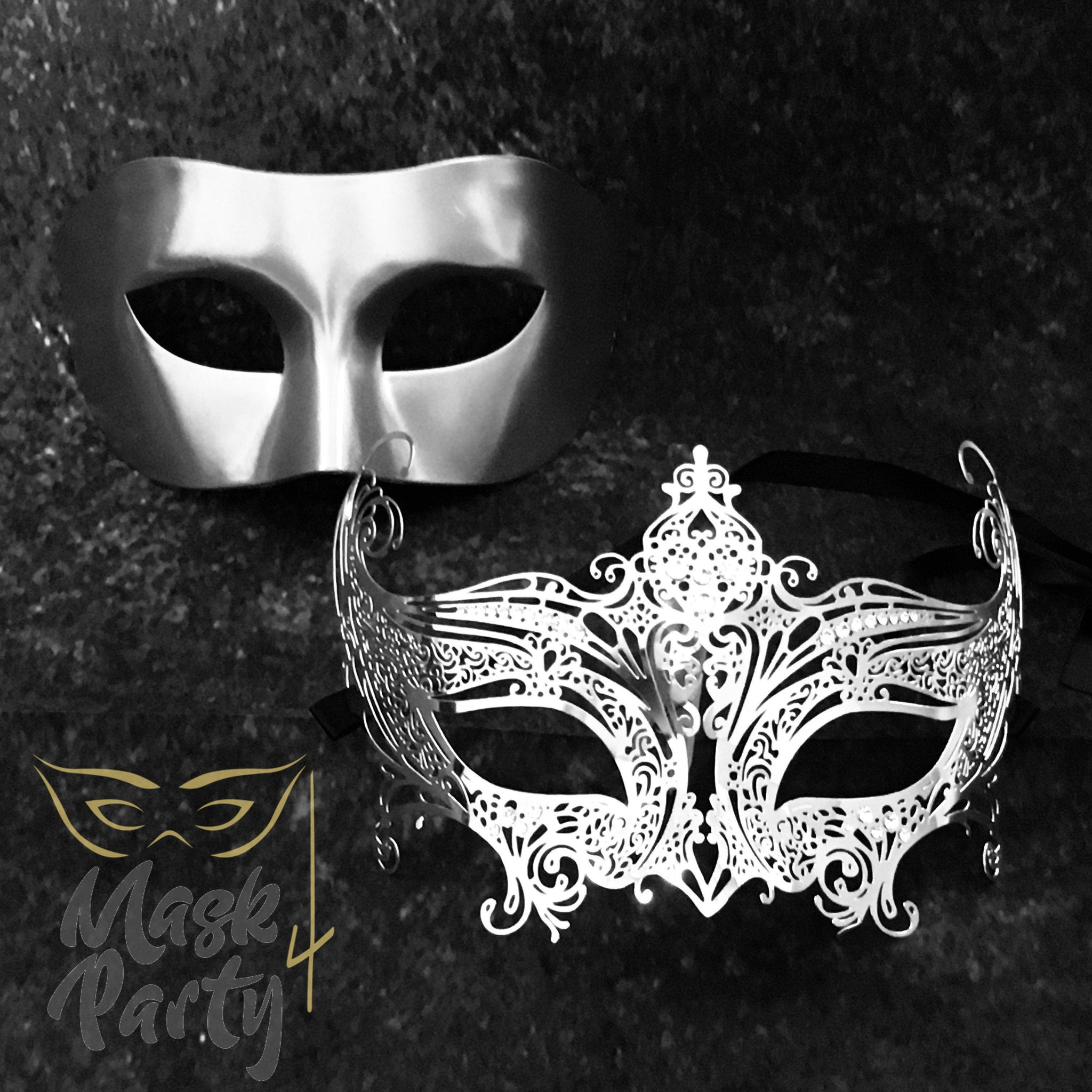 NEW - Masquerade Masks - Venetian Eye & Filigree Metal - Silver - Mask4Party