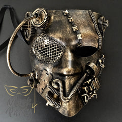 NEW - Steampunk Mask - Bautar Bevel Gear - Black/Gold - Mask4Party