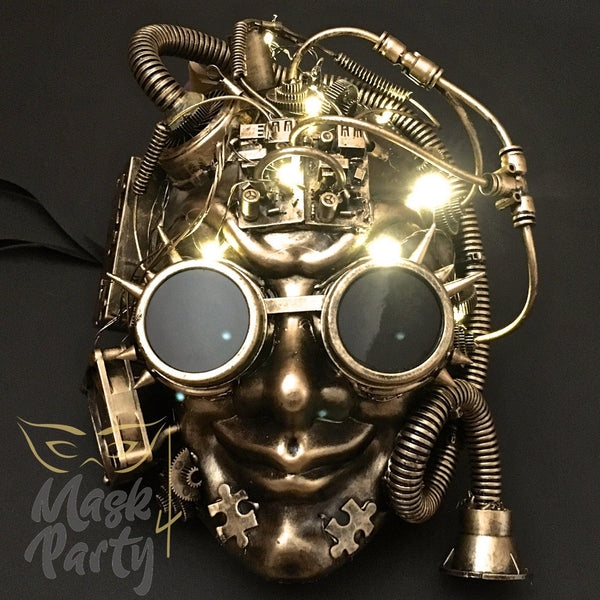 NEW - Steampunk Mask - LED Light Up Flashing Full Face - Black/Gold - Mask4Party