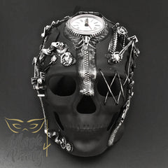 NEW - Steampunk Mask - Maximal Design Skull - Black/Silver - Mask4Party