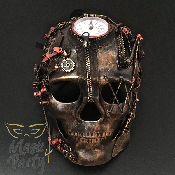 NEW - Steampunk Mask - Maximal Design Skull - Gold/Black - Mask4Party