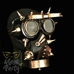 NEW - Steampunk Mask - Rivet Flip-Up Goggles & Respirator - Gold/Black - Mask4Party