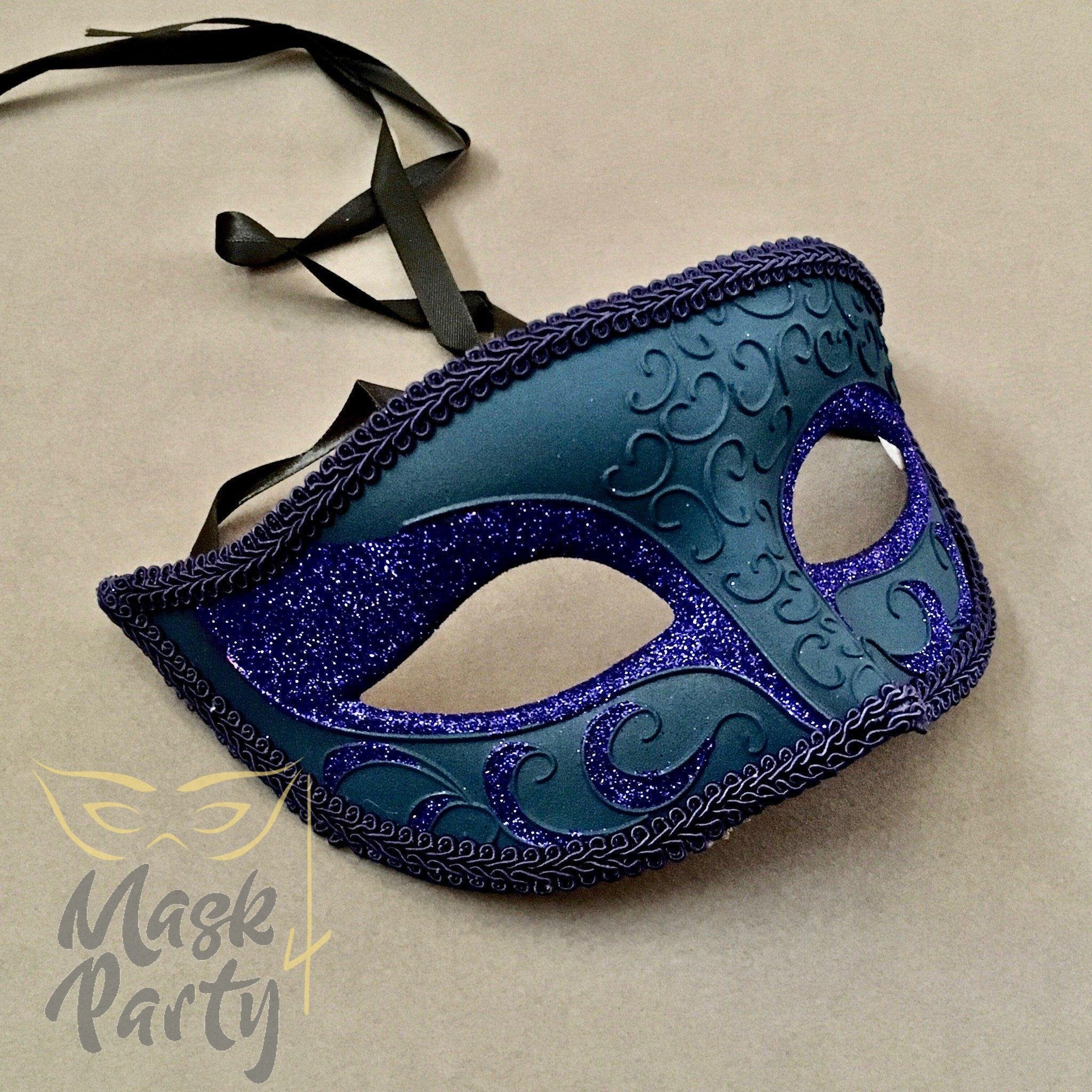 SALE - Masquerade Mask - Venetian Eye Glitter - Blue - Mask4Party