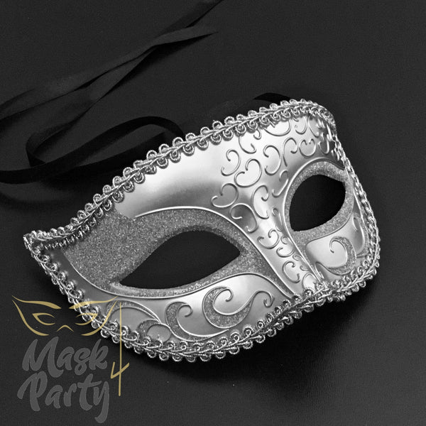 SALE - Masquerade Mask - Venetian Eye Glitter - Silver - Mask4Party