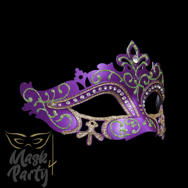 SALE - Masquerade Mask - Venetian Eye - Purple/Gold - Mask4Party