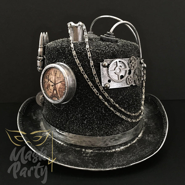 Steampunk Hat - Chain & Pseudo-clock- Black/Silver - Mask4Party