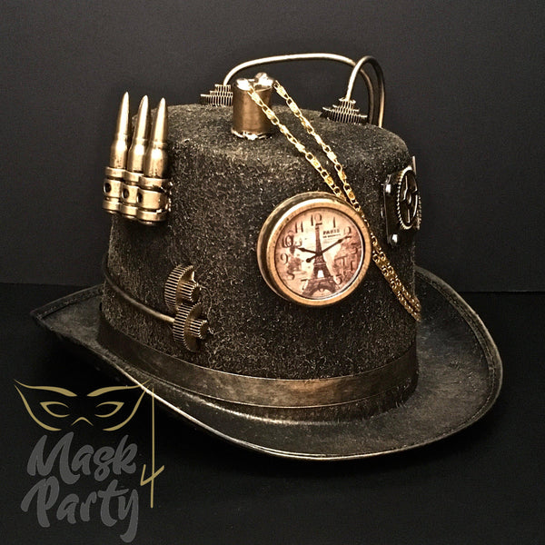Steampunk Hat - Pseudo-Clock & Chain - Black & Gold - Mask4Party