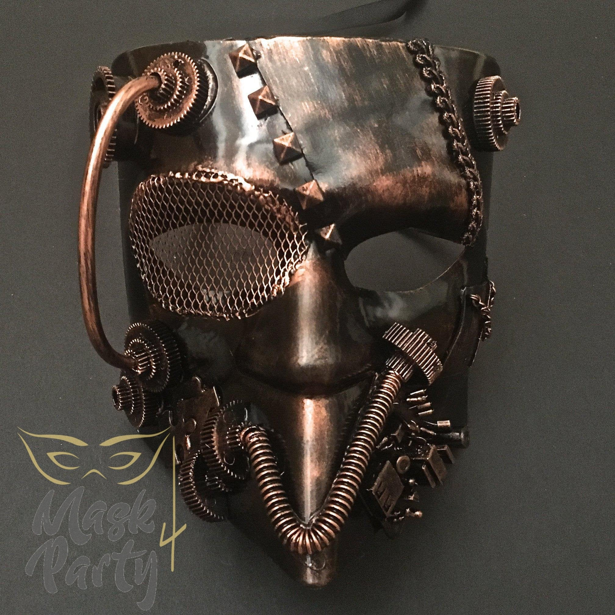 Steampunk Mask - Bautar Bevel Gear - Black/Copper - Mask4Party