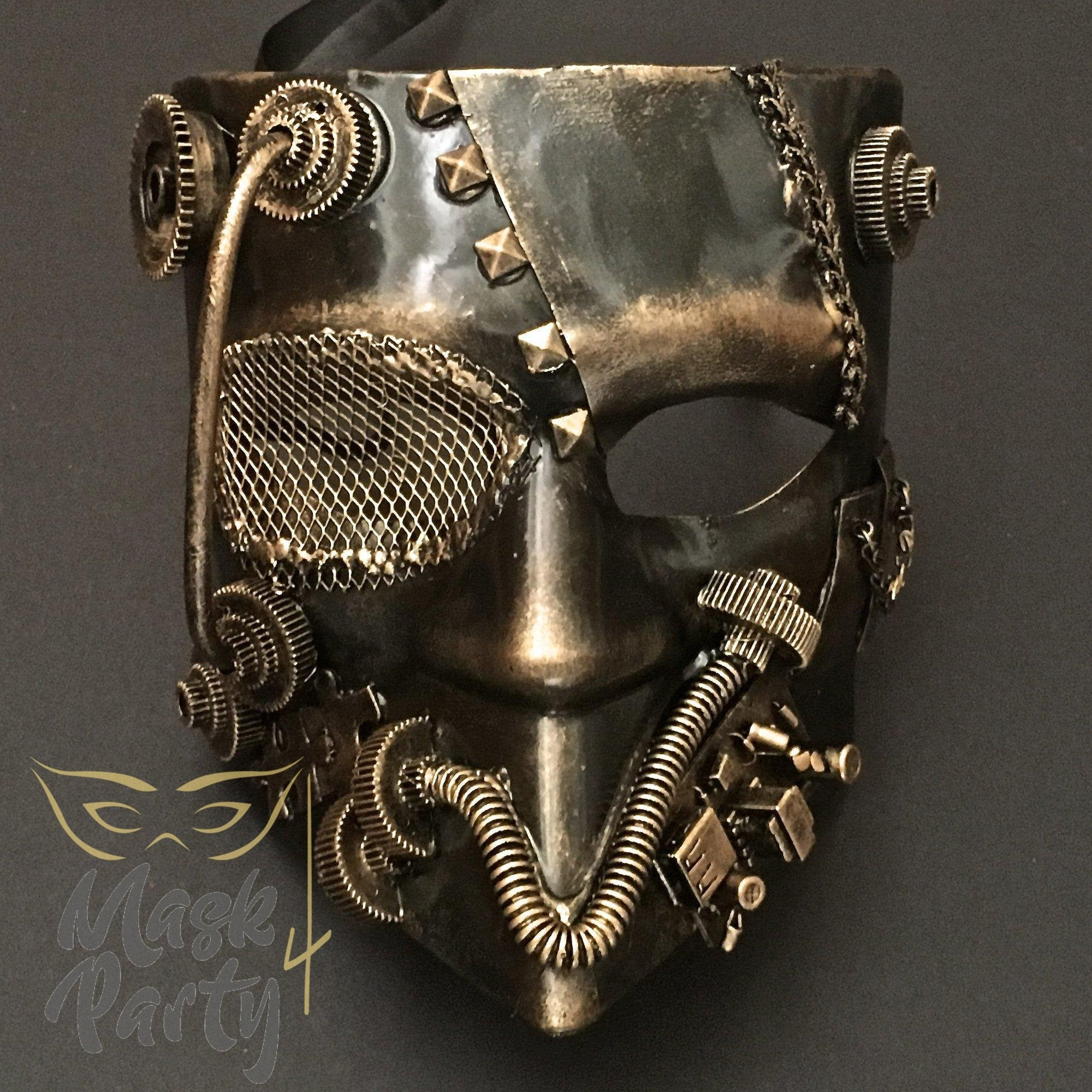 Steampunk Mask - Bautar Bevel Gear - Black/Gold - Mask4Party